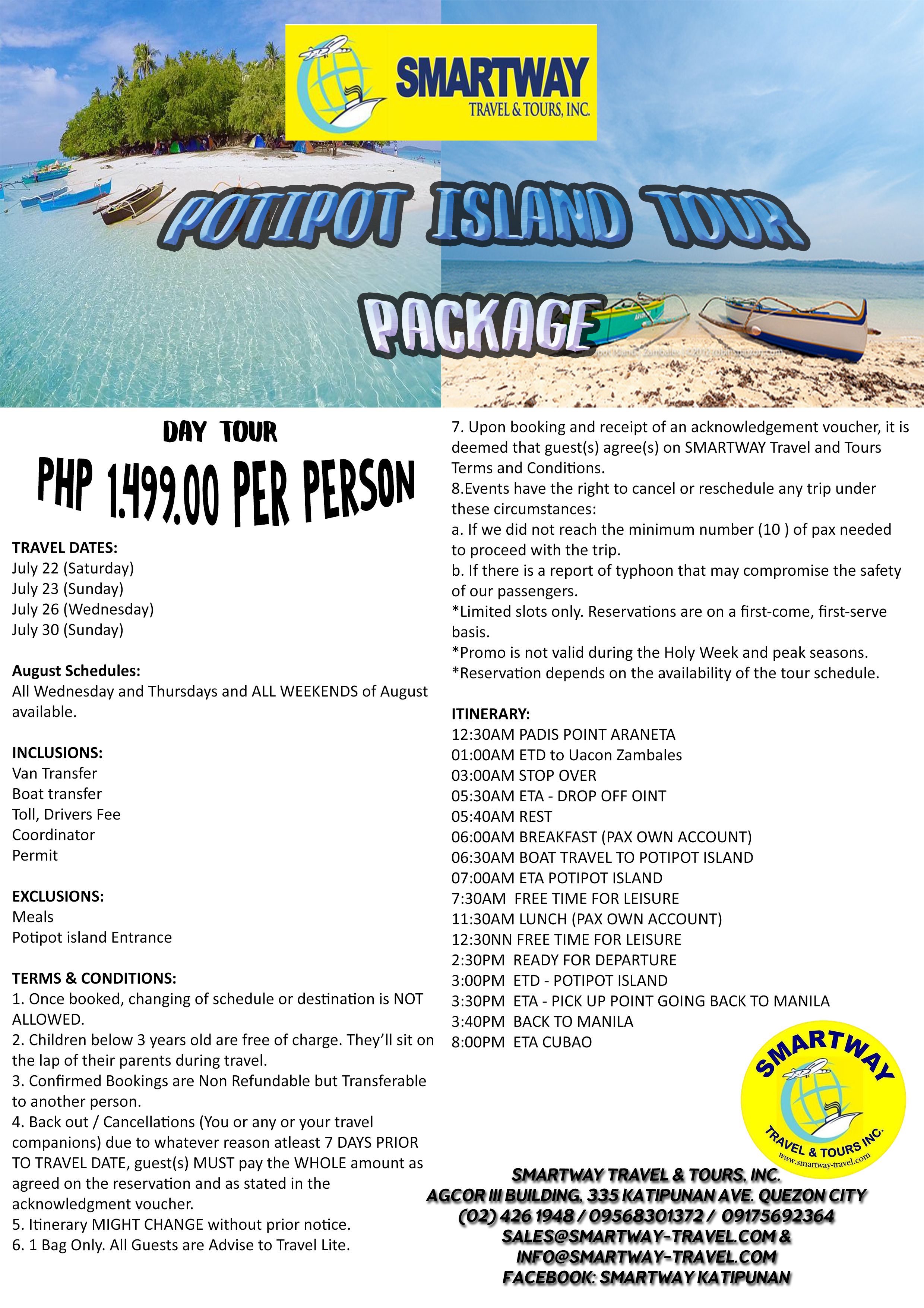 Potipot Island Package Smartway Travel And Tours Inc