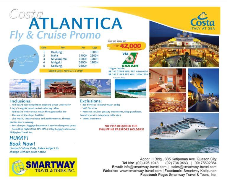 COSTA ATLANTICA FLY & CRUISE PROMO 2019 - Smartway Travel